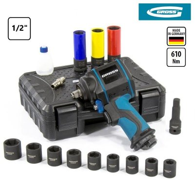 Uťahovák rázový vzduchový (pneumatický) 1/2' G985K2 (17 dielna sada) GROSS 57445