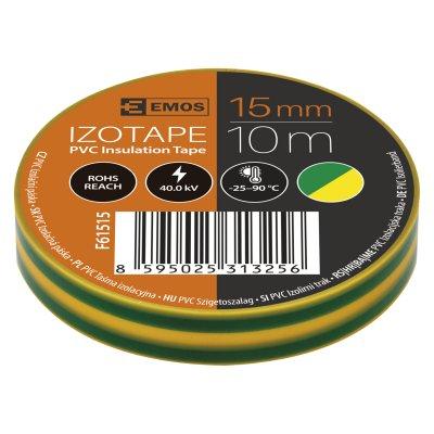 Páska izolačná 15/10 zeleno-žltá PVC EMOS F61515